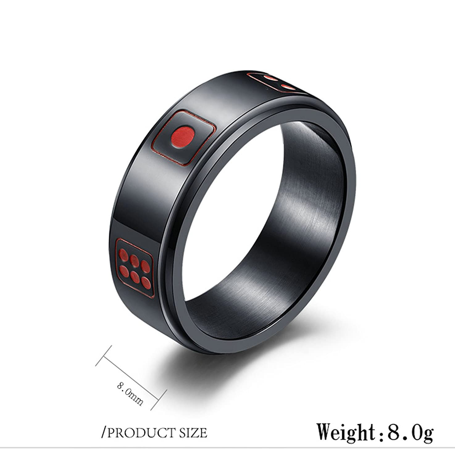 Bishilin Stainless Steel Rings for Men Round Dice Width 8 Mm Wedding Rings Vintage Size 12