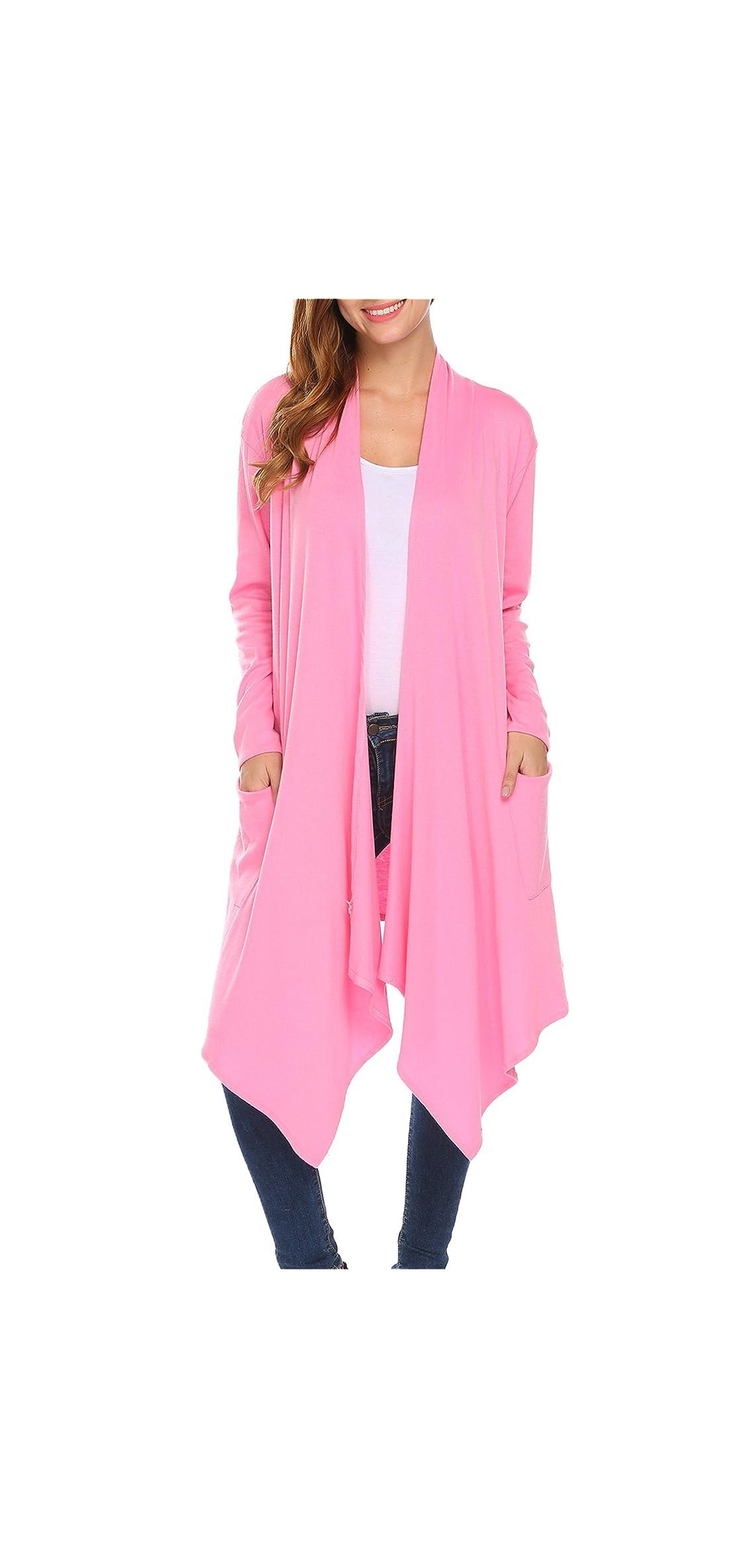 Womens Open Front Asymmetrical Drape Long Maxi Cardigan Long
