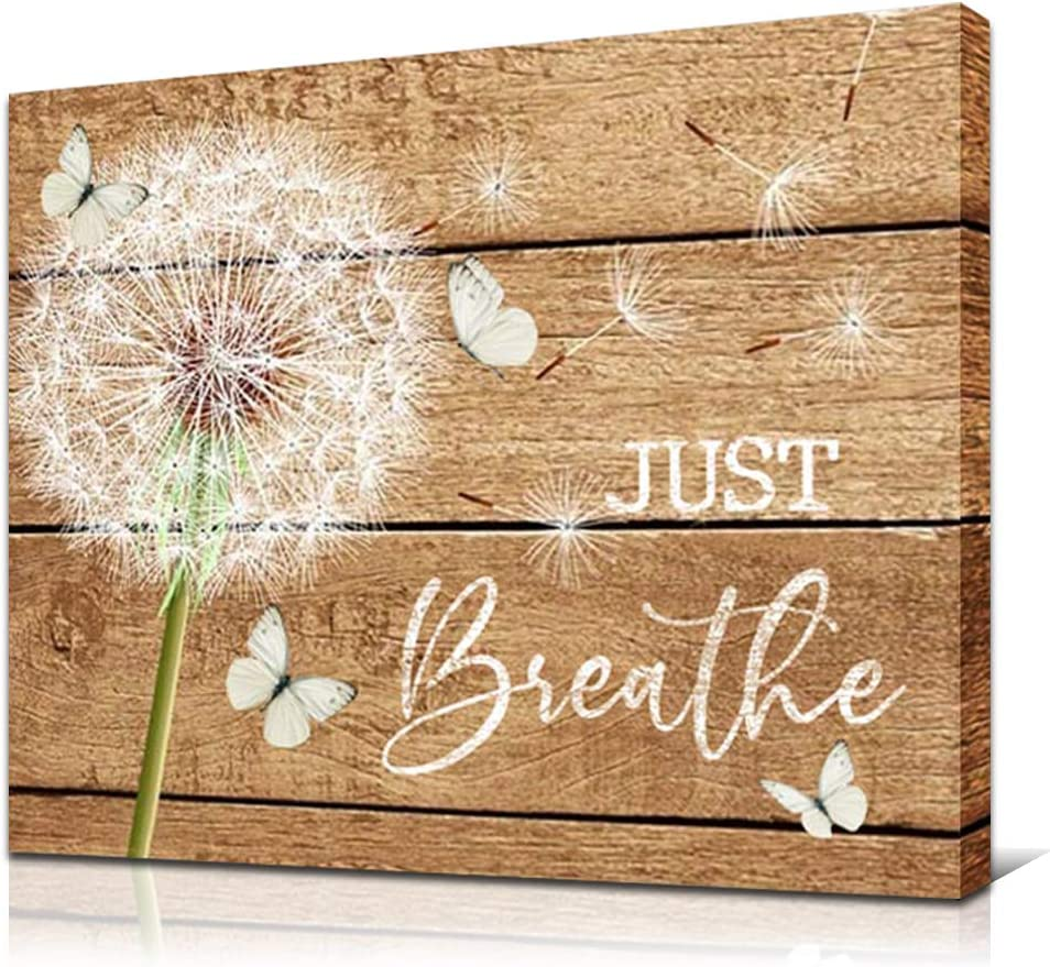 JUSTBR Rustic Wall Art Dandelion and Butterflies Canvas Print Just Breathe Quotes Painting Farmhouse Country Artworks Home Decor For Bathroom Living Room Bedroom Kitchen Office Framed 12