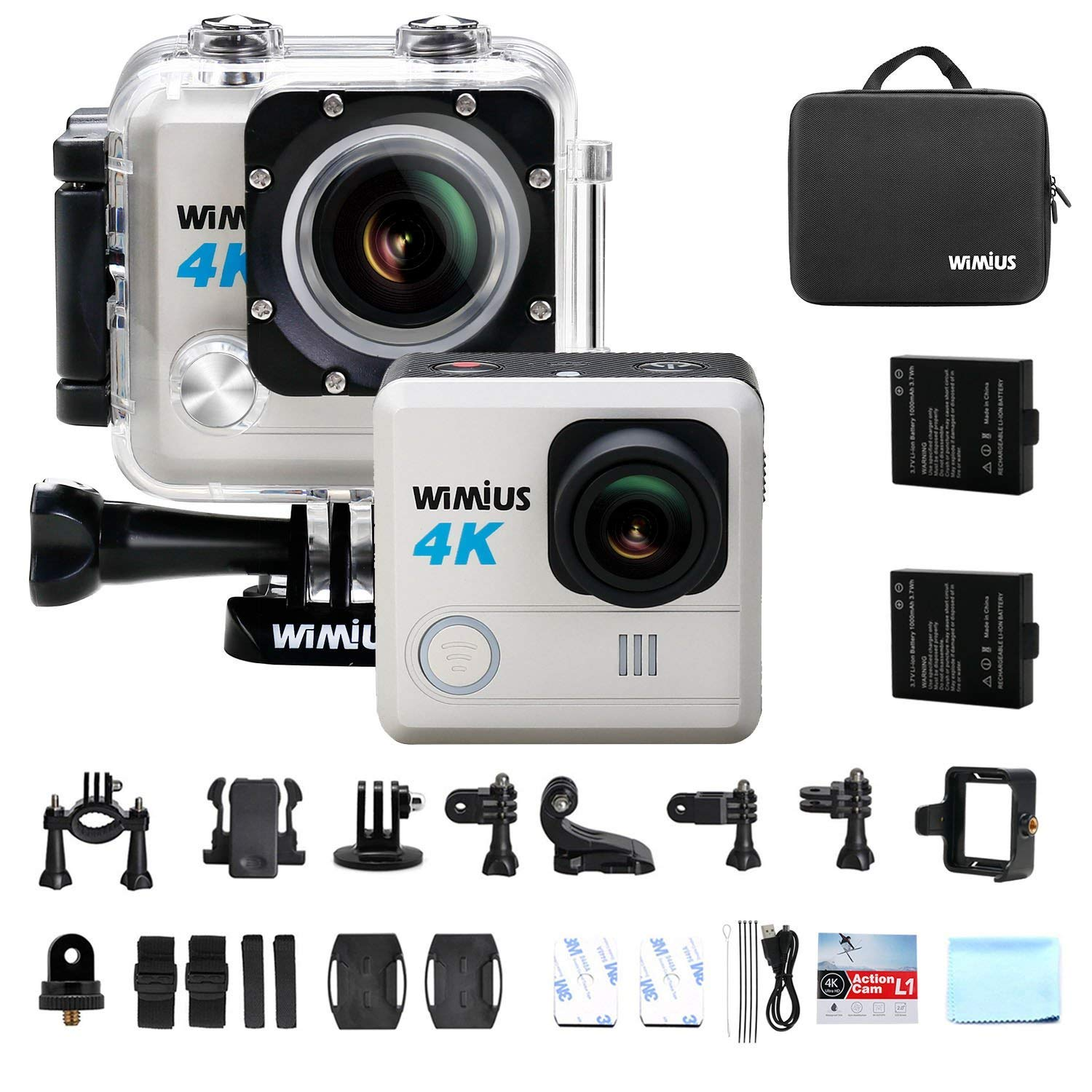 Action Camera, Wimius 4K 20MP WiFi Waterproof Sport Camera FPV Camcorder Waterproof 30M 170 Wide Angle 2 LCD Lens 2 pcs Rechargeable Batteries and Kit of Accessories(L1-Black)