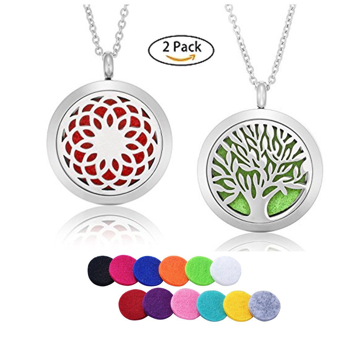 HooAMI Aromatherapy Essential Oil Diffuser Necklace Sunflower Tree of Life Locket Pendant 2pcs