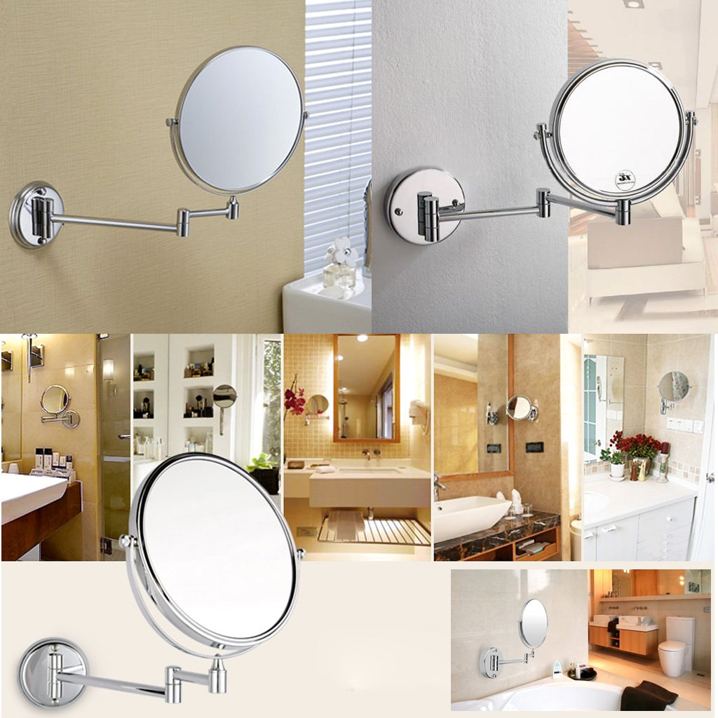 Amazon excelvan 8 inch double sided swivel wall mount makeup amazon excelvan 8 inch double sided swivel wall mount makeup mirror 12 inch extension polished chrome finished 7x magnification electronics amipublicfo Image collections