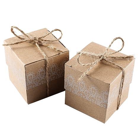 CLE DE TOUS - 50pcs Cajas kraft para dulces bombones Caja kraft de boda regalo Jabón