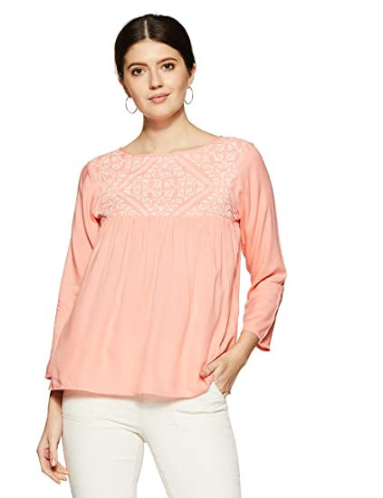 a86f9c5cc1048 THE VANCA Women s Peach Rayon Top with Embroidery  Amazon.in ...