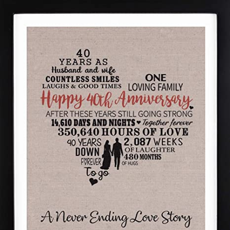 Amazon.com: Anniversary Love Story Burlap Print with Frame, 40th Anniversary Gift for Parents, Ruby Anniversary, Happy 40 Year Wedding Gift: Kitchen & ...