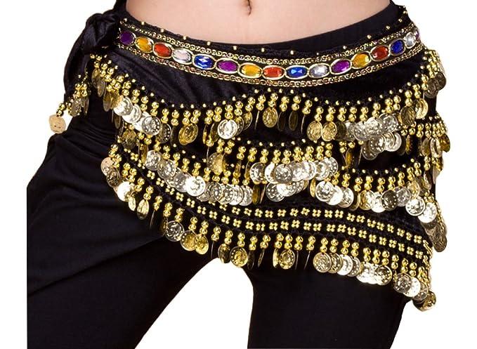 Rhinestone Gems Coins Belt Belly Dance Hip Scarf Waist Belt Skirt Costume Wrap