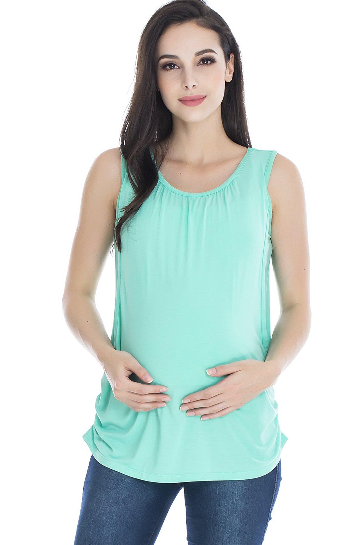 Smallshow Women's Maternity Nursing Tank Top Breastfeeding T-Shirt Green.XX-Large