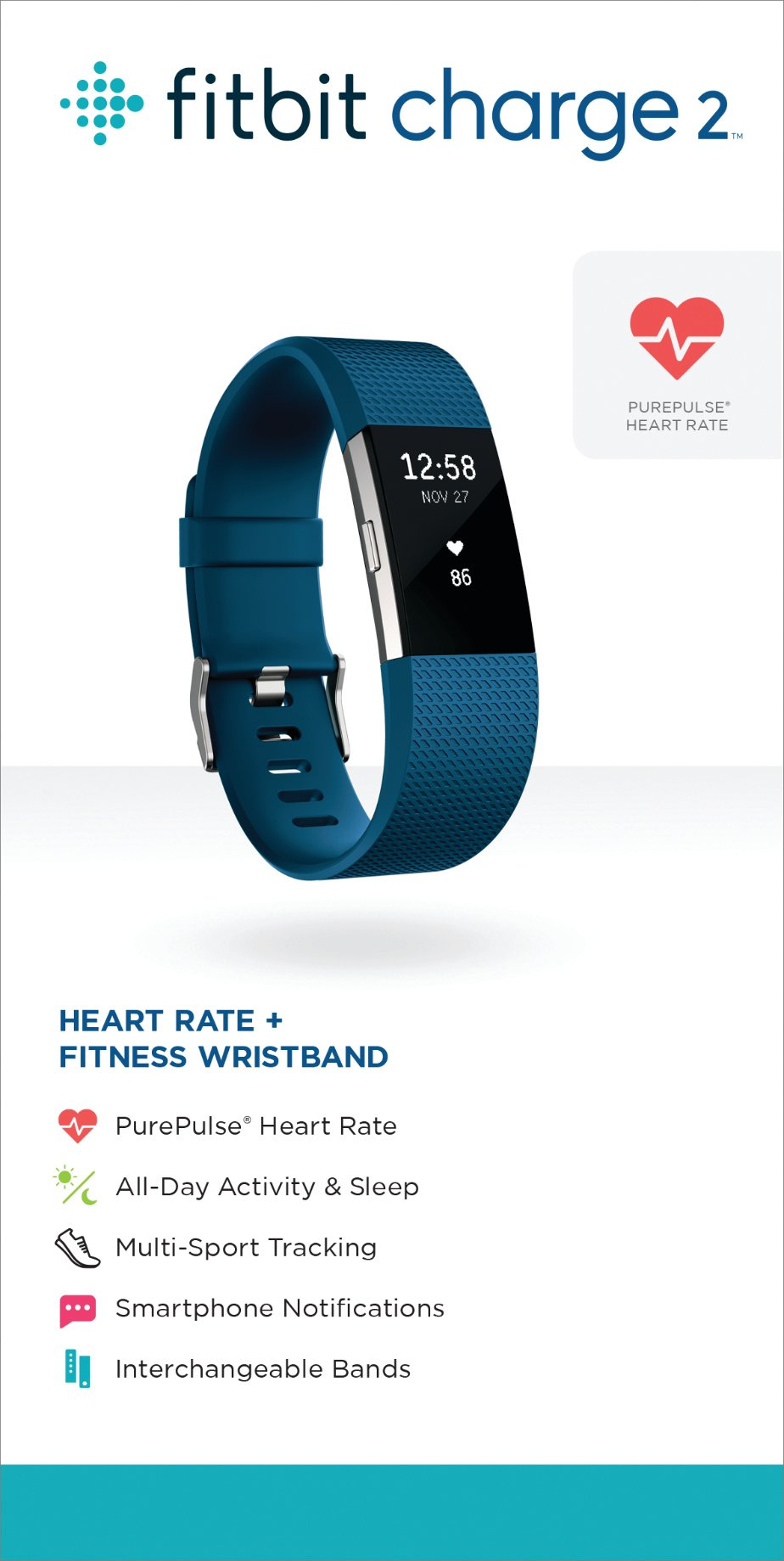 Fitbit Charge 2 Heart Rate + Fitness Wristband, Blue, Small (US Version) by Fitbit (Image #7)