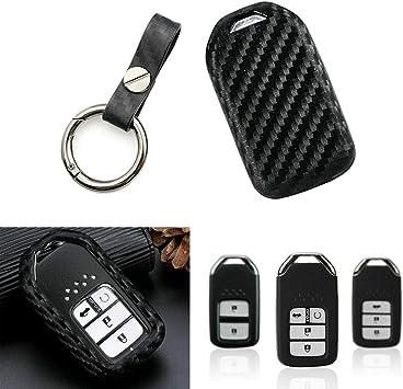 Soft Carbon Fiber Silicone Smart Key Fob Cover Fit For Honda CR-V Odyssey Pilot