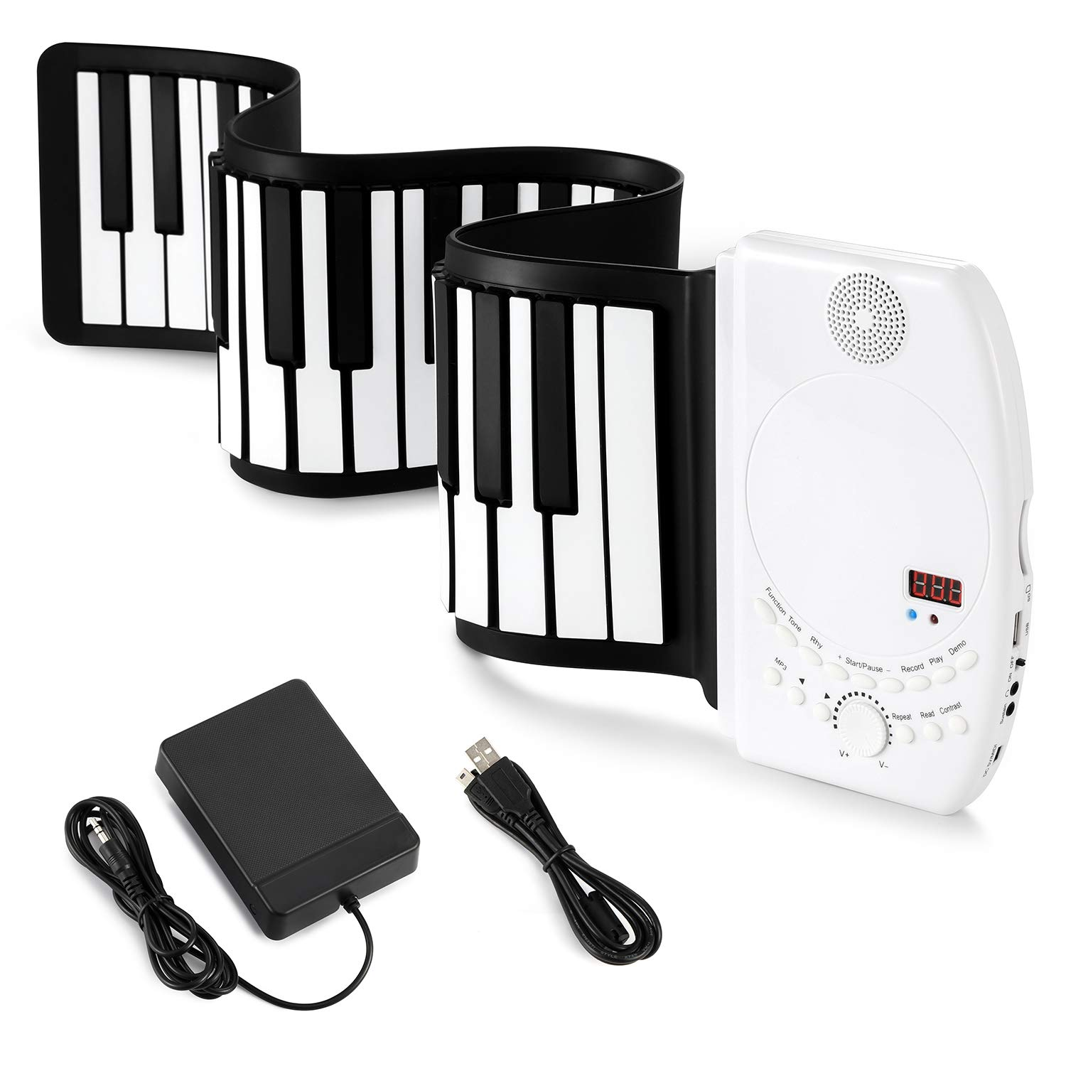 Donner Roll Up Piano Keyboard, 61 Keys Portable for Kids Beginners or Finger Strength Exercises with Sustain Pedal White by Donner