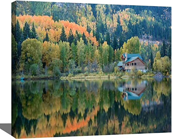 DIY Paint By Number Kits Green Lake 16x20 With Framed Canvas wood frame