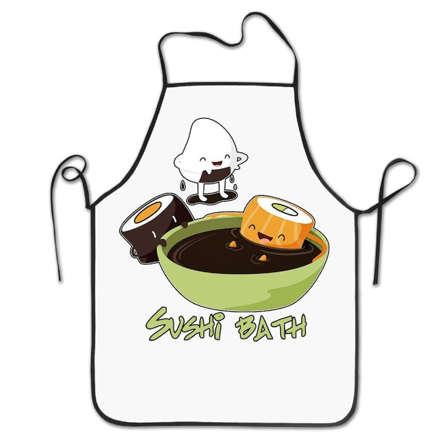starmengphis Funny Sushi Bath Spa Chef Women's Men's Funny Creative Print Cooking Aprons