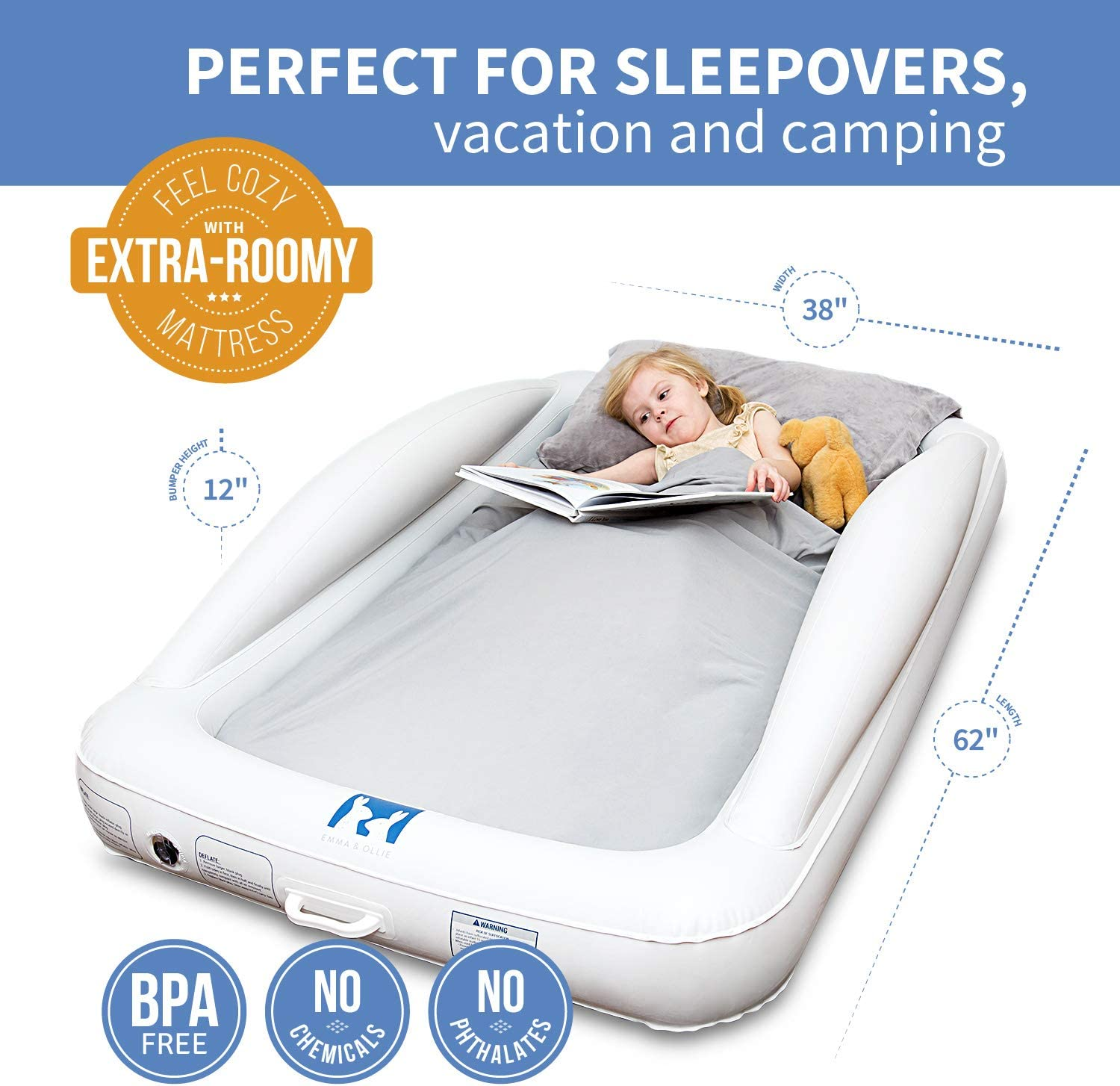 Emma + Ollie Inflatable Toddler Bed with Bed Rails ...