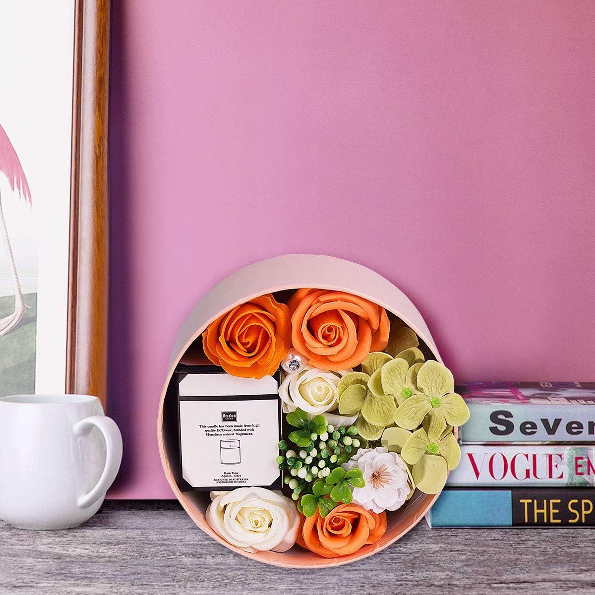 ANBET Femmes Savon Fleur Bo/îte Ronde avec Bougies Parfum/ées Rose Artificielle et Cire V/ég/étale Naturelle Aromath/érapie Bain Cadeau pour No/ël F/ête des Enseignants Saint Valentin Anniversaire