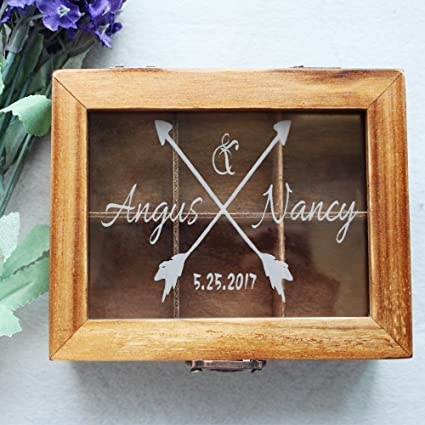 Amazon.com: Vintage Wooden Wedding Card Box Arrow Personalized Name ...