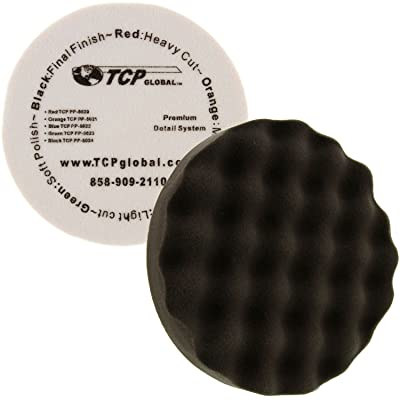 "TCP Global 8"" Black Waffle Extra Fine Foam Finishing Grip Pad Final Buff Polish Wax - Hook & Loop: Automotive"