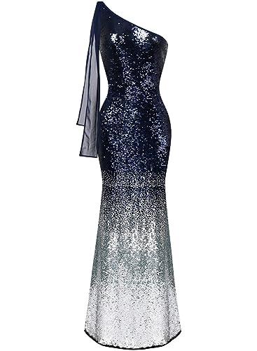 ASVOGUE Mujer Vestidos de Fiesta Damas de Honor Lentejuelas Paneles de Malla Solo Hombro de Color Gradiante, marino L: Amazon.es: Ropa y accesorios