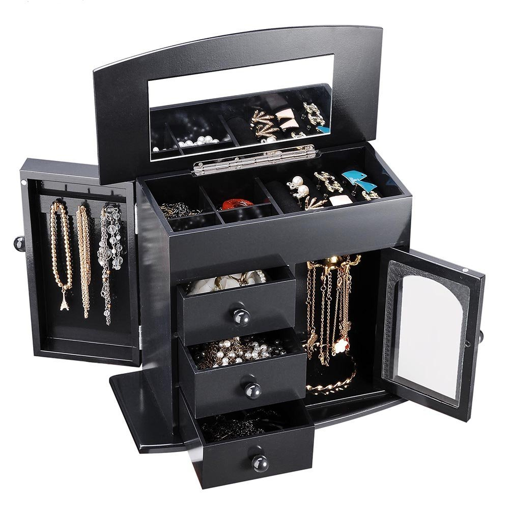CHIMAERA Multi-Compartment Wooden Jewelry Box Organizer with Mirror for Rings Bracelet Earrings (Black)