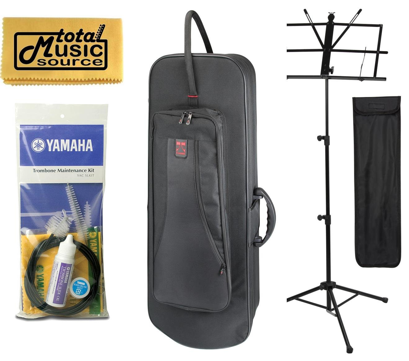 TMS Back To School Trombone F Bundle w/ Black Kaces Case, Music Stand, Maintenance Kit & Polishing Cloth