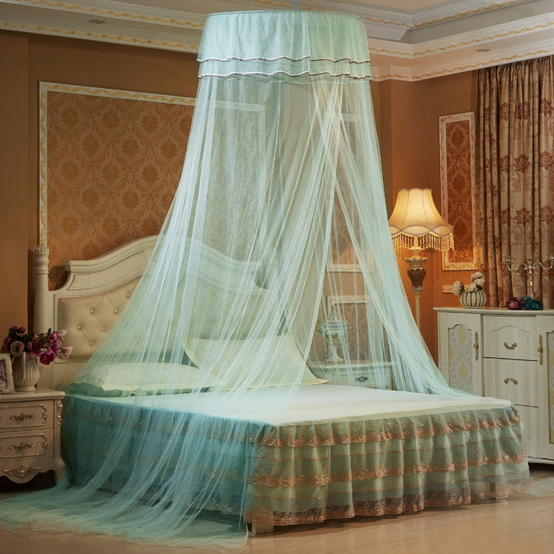 Mosquito Net Dome, Petforu Princess Bed Canopies Netting Elegant Lace with 2 Butterflies for decor - Water Blue