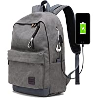 Laptop Backpack for Men Back Pack with USB Charging Port,Notebook Lightweight Travel Backpack (Grey)