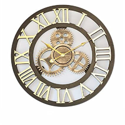 WAWZJ Wall Clock The Living Room Style Wooden Wall Clock Clock Gear Bar Stereo Retro Cafe