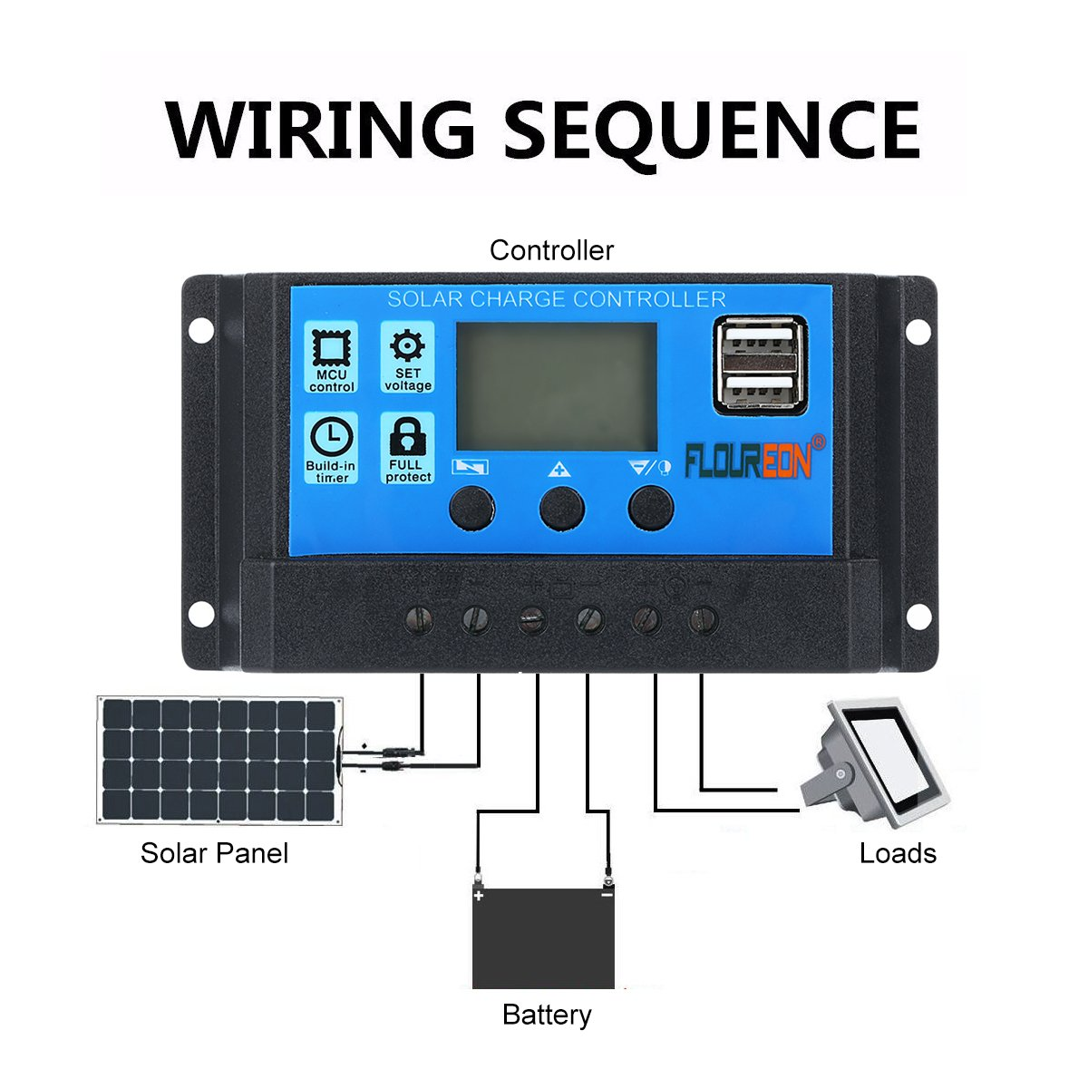 Floureon 10a Solar Charger Controller Panel Charge Circuit The Appears To Be Little Battery Intelligent Regulator With Usb Port Lcd Display 12v 24v Garden Outdoor
