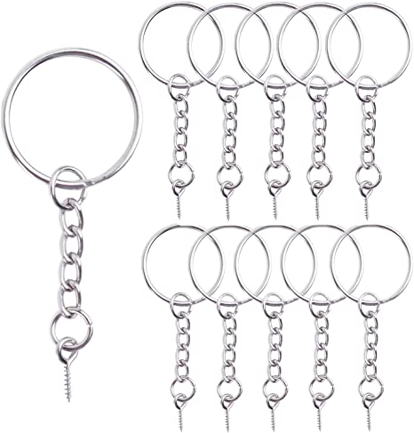 10 x 25mm Silver Key Ring Split Ring /& Chain For Beading Craft Jewellery Making