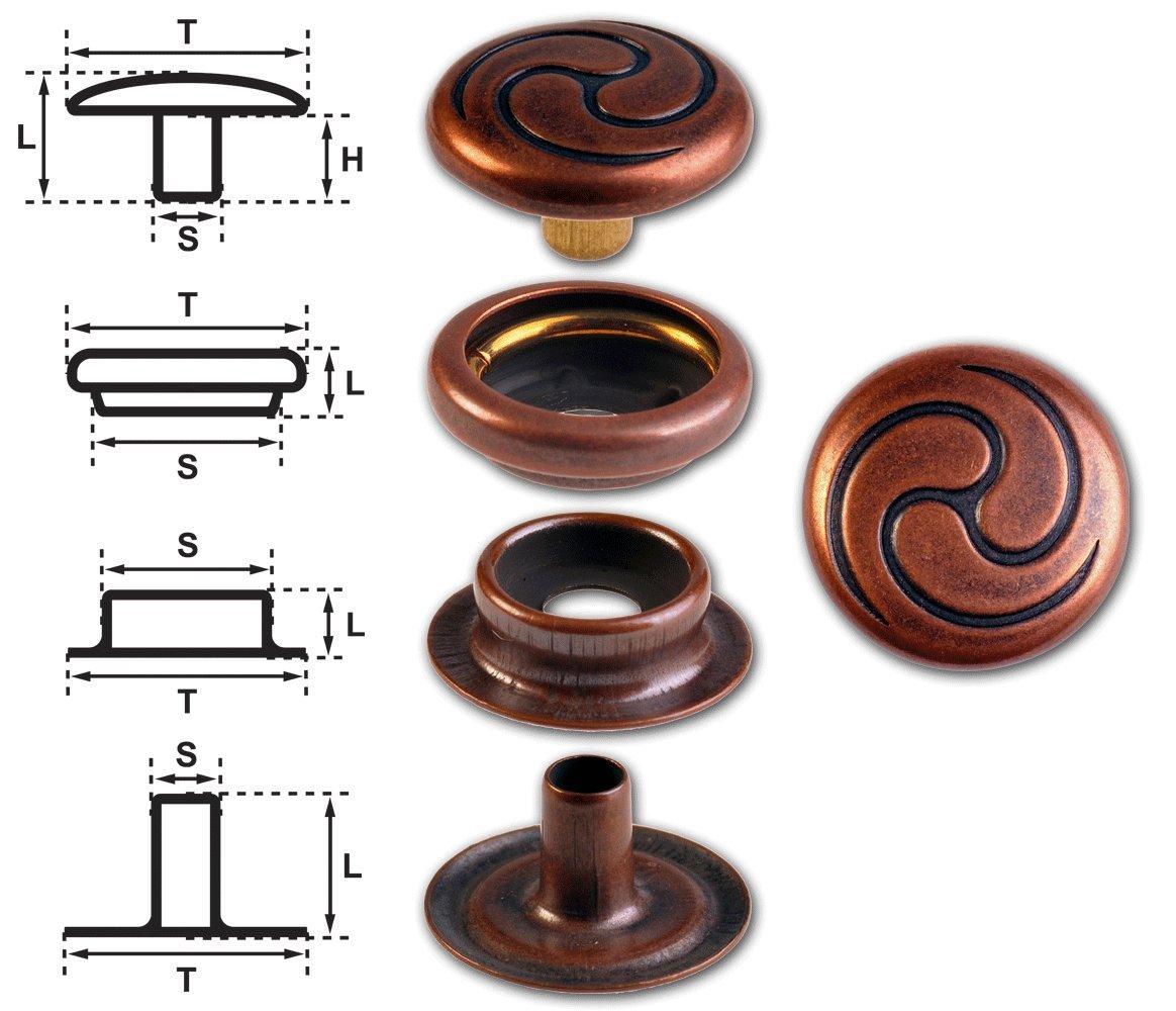 "kupfer-antik nickelfrei Finish Ringfeder-Druckknöpfe /""F3/"" 17mm aus Messing"