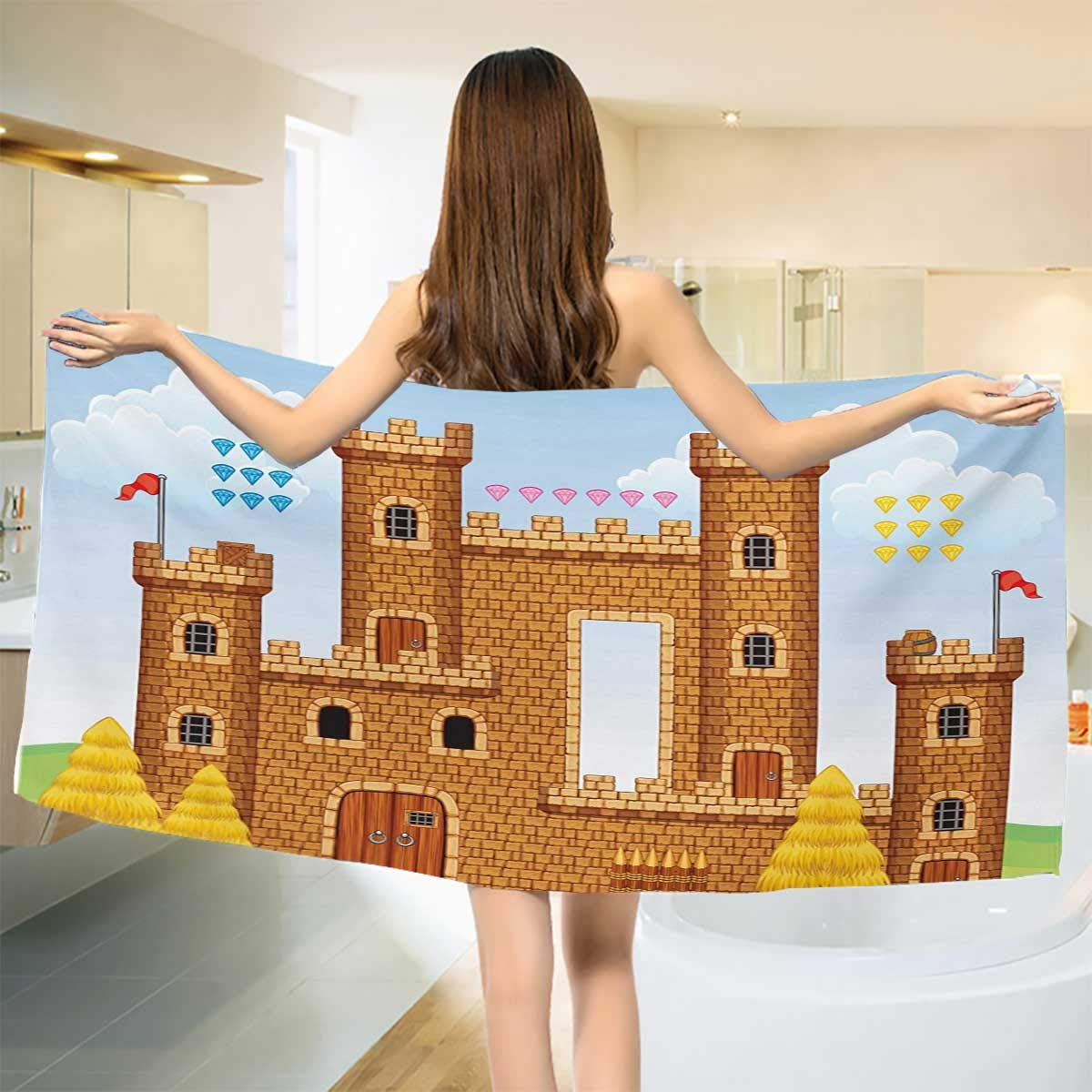 Children,Bath Towel,Video Game Background with Castle Leisure Hobby Activity Kids Youth Design,Customized Bath Towels,Pale Caramel Blue Size: W 19.5'' x L 39.5''