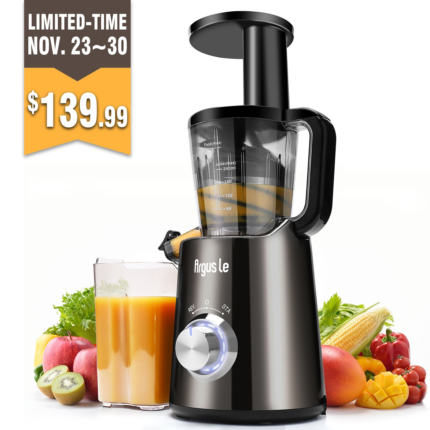 Argus Le Slow Masticating Juicer, High Juice Yield with Drier Pulp, Easy Cleaning and Operating Cold Press Juicer, Fruit and Vegetable Juice Extractor