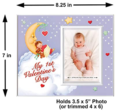 Baby/'s Picture Frame ~ My 1st Valentine/'s Day Personalized Photo Frame ~ Girl/'s Valentine Picture Frame ~ Baby/'s Holiday Picture Frame