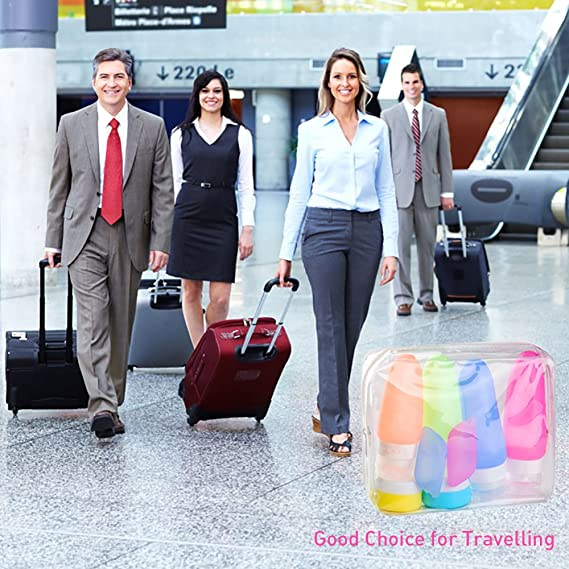 centtechi Frasco de Viaje de Silicona 8pcs , sin BPA approuvée por FDA, Botella Anti-fuite para champú, Gel de Ducha, Aceite Solar loción etc, Aeropuerto ...