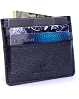 Slim Credit Card Wallet,Genuine Leather Card Holder Case Sleeve,With ID Window