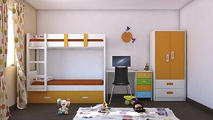 Adona Adonica Mango Kids Room Furniture Set W Bunk Bed Wardrobe And