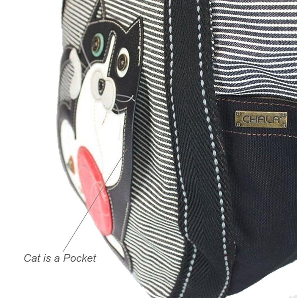 Chala Fat Cat Carryall Zip Tote Black Stripe