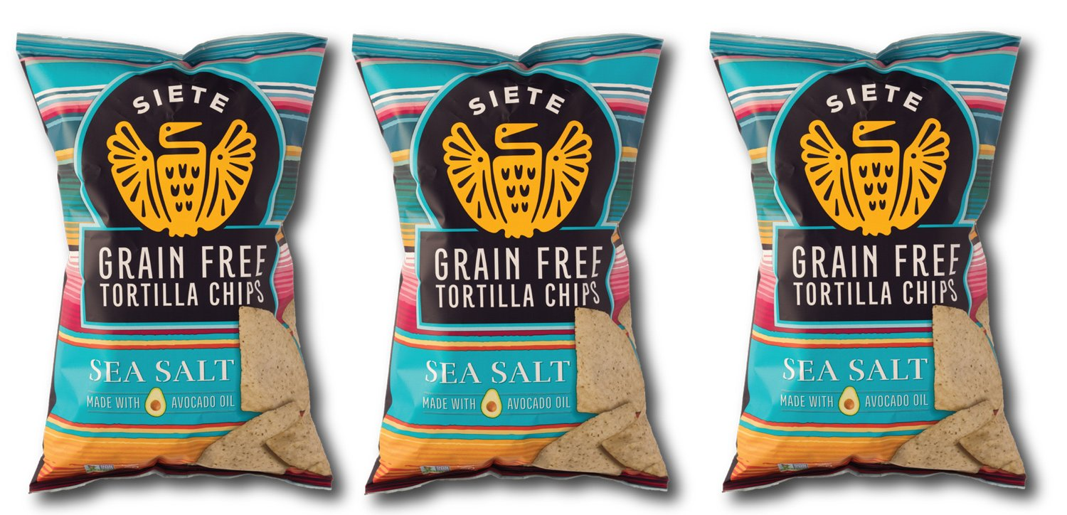Siete Sea Salt Tortilla Chips, Grain Free, Paleo, Vegan - 5 Ounce (3 Pack)