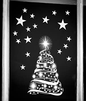 Star Tree With Stars Window Cling Stickers Seasonal Christmas - Window decals amazon