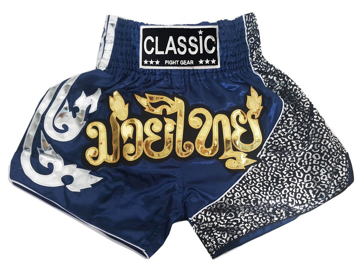 Classic Muay Thai Kick Boxeo Pantalones Thai Shorts : CLS-105-Navy size S
