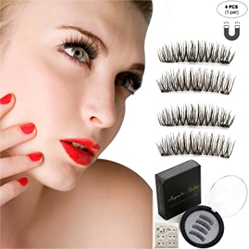 b2b6aef6a3d Magnetic False Eyelashes,2018 New Version Handmade 3D Fiber Reusable Fake  Eyelashes with Three Magnet