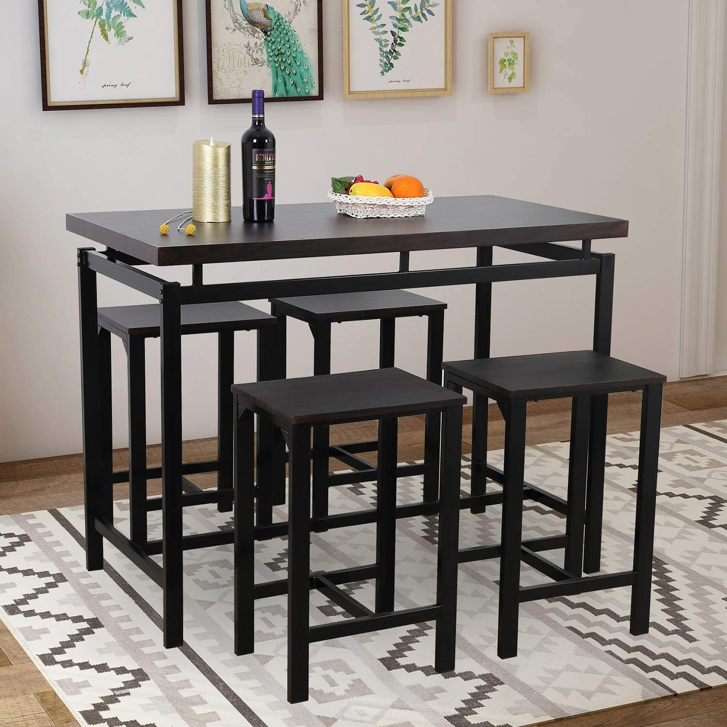 Dining Table Set, Rockjame 5 Piece Counter Height Pub Table Set with 4 Chairs for The Bar, Breakfast Nook, Kitchen Room, Dining Room and Living Room Espresso