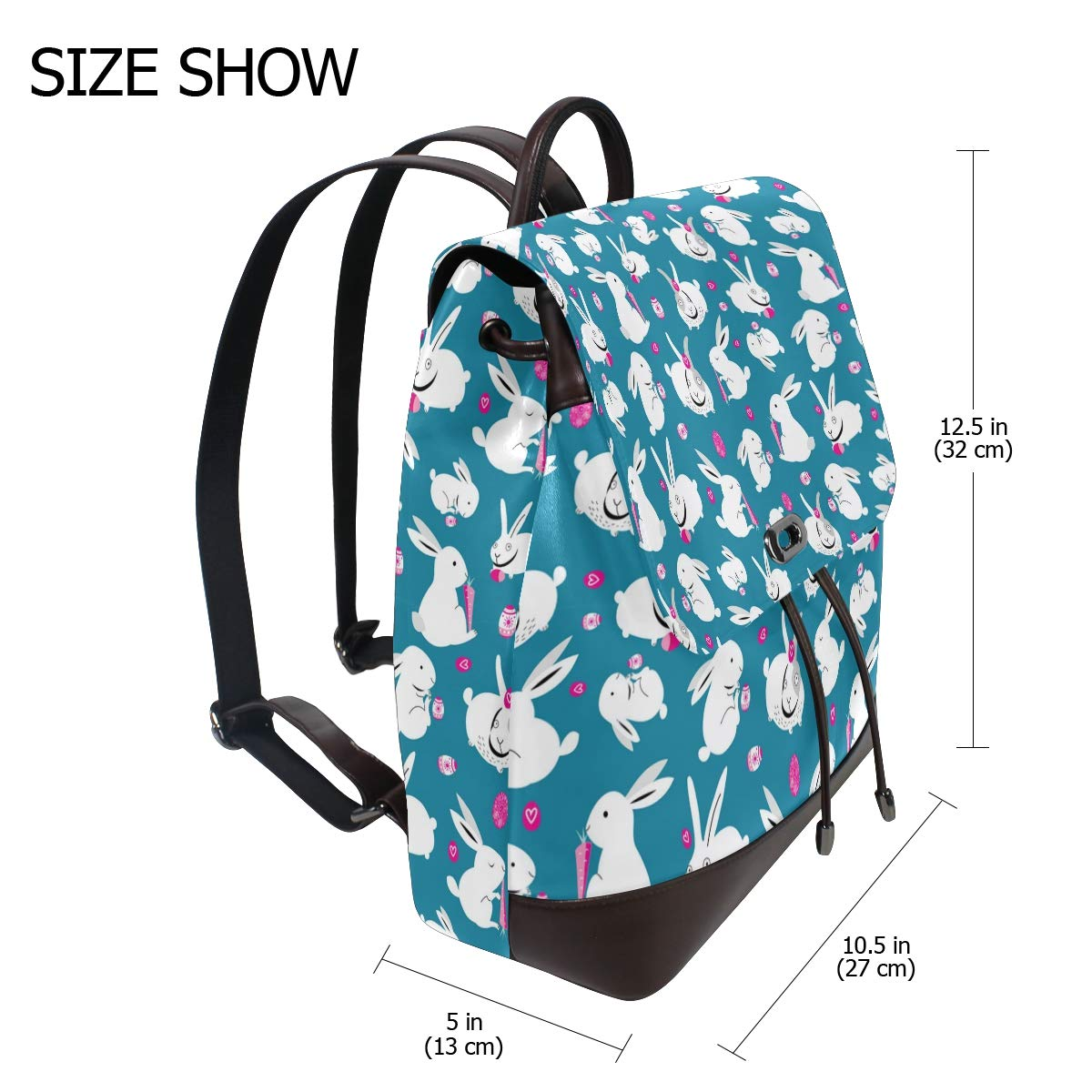 Leather Easter White Bunnies With Carrots Blue Backpack Daypack Elegant Ladies Travel Bag Women Men