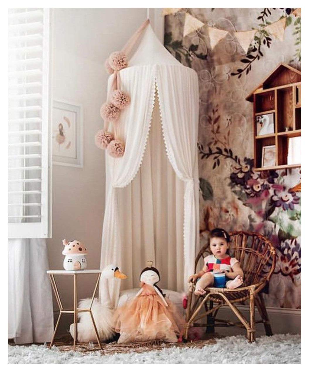 Dome Princess Bed Canopy Bedcover Curtain Tent Childrens Room Decorate for Baby Kids Indoor Outdoor Playing Reading 240cm with Lace Trim Pink ivivian Mosquito Net Canopy