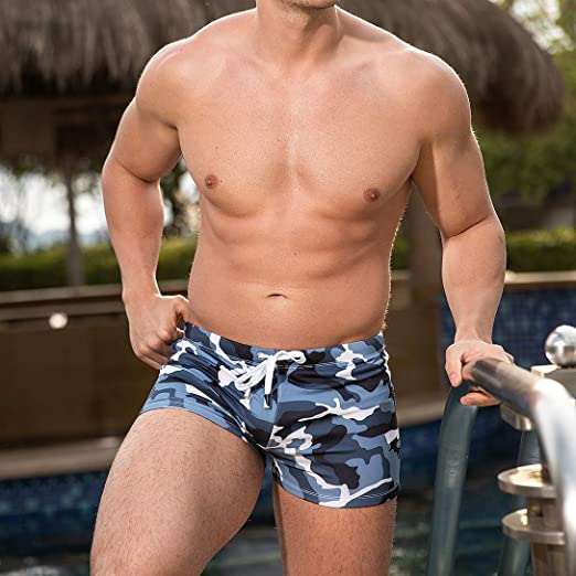 AIMPACT Mens Swim Trunks Fashion Swimwear Beach Surf Sports Low-Rise Bikini Square for Men