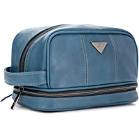 Leather Toiletry Bag for Men - Dopp Kit for Mens Toiletries by LVLY - Travel Bags for Shaving Grooming and Bathroom Accessories (Blue Leather Toiletry Bag)