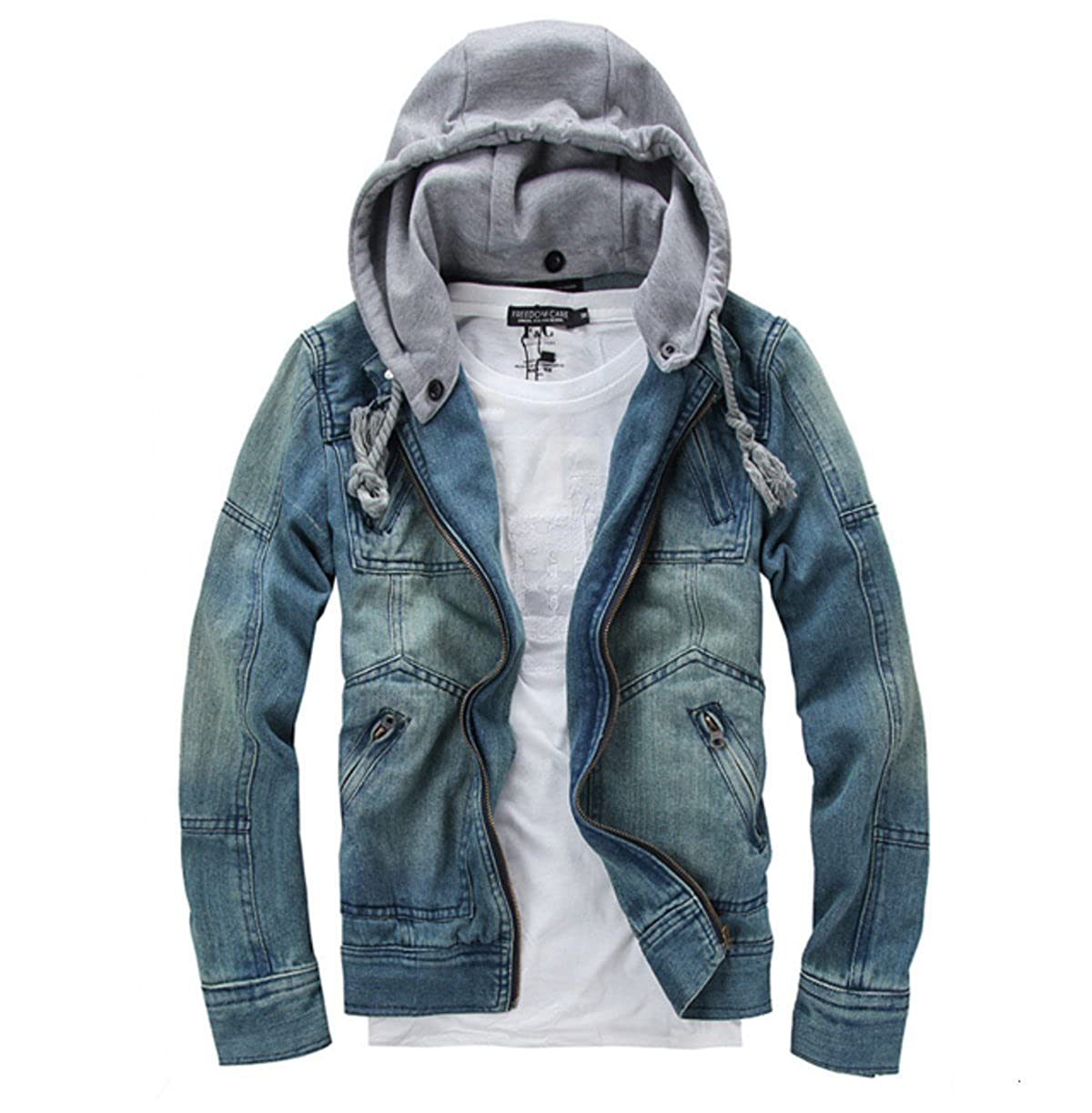 Onetify Mens Denim Jacket with Removable Hood