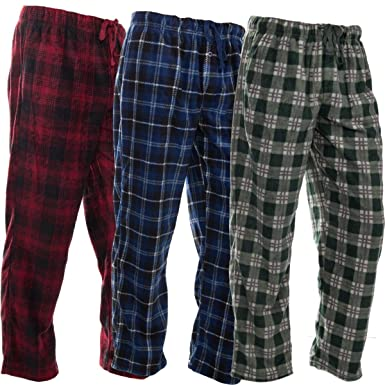 Dg Hill 3 Pack Flannel Mens Pajama Pants Set Bottoms Fleece Lounge