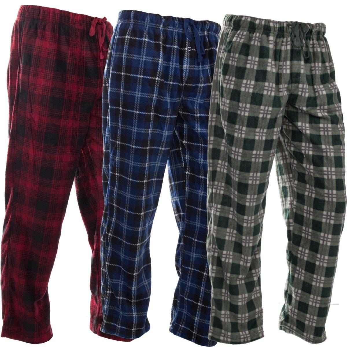 DG Hill (3 Pairs) Mens PJ Pajama Pants Bottoms Fleece Lounge Sleepwear Plaid PJs with Pockets Pants (Red, Blue & Green), Multicolor, Large: 33-35'' waist