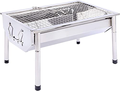 REDCAMP Portable Charcoal Grill Barbecue, Foldable Small Stainless Steel BBQ Grill Camping Tabletop Grill for Outdoor Camping Cooking