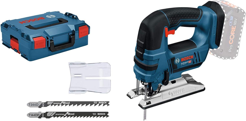 Bosch Professional GST 18 V-LI Sierra de calar, 2700 cpm, electrónica, profundidad de corte 120 mm, sin batería, en L-BOXX, Negro/Azul, 18V